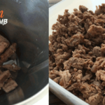 Shredded and minced lamb in Thermomix bowl