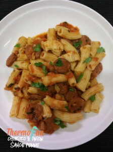 Thermomix Chorizo & Onion Penne - ThermoFun