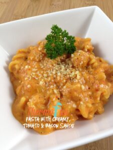 ThermoFunPasta withCreamy, TomatoandBaconSauce