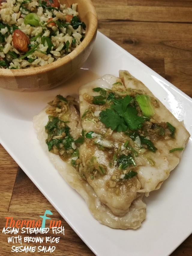 Asian Steamed Fish with Brown Rice and Sesame Salad Recipe