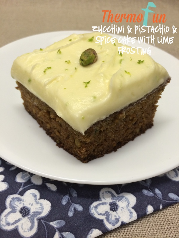 Zucchini, Pistachio and Spice Cake with Lime Frosting