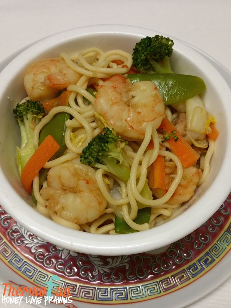 Mad Monday – Honey Lime Prawns with Vegetables and Noodles Recipe