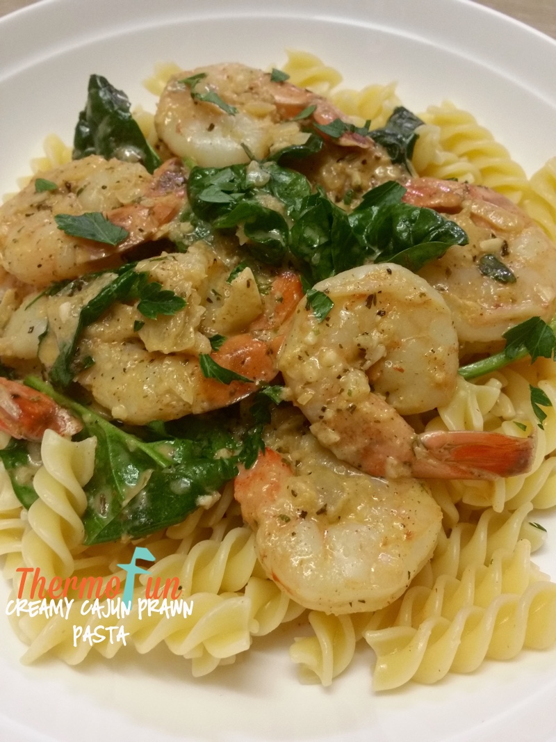 creamy cajun prawn pasta week 3 2016 thermofun thermomix recipes tips. Black Bedroom Furniture Sets. Home Design Ideas