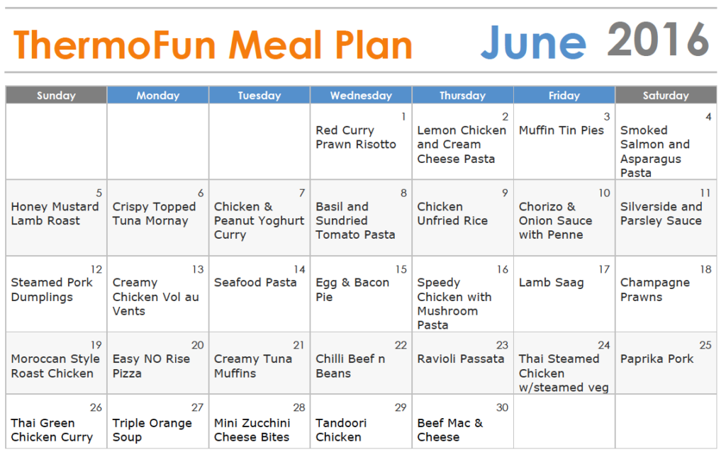 Thermomix Meal Plan - June