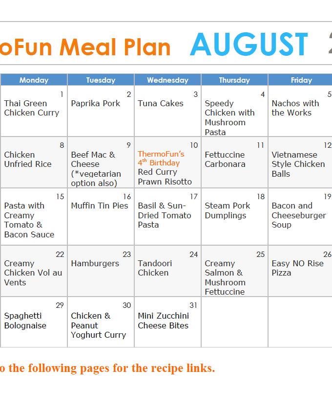ThermoFun FREE August Meal Plan