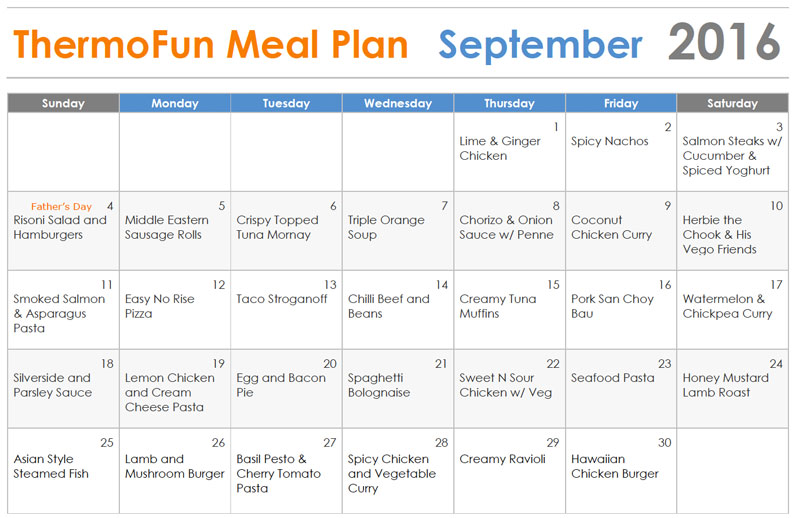 Thermomix Meal Plan September