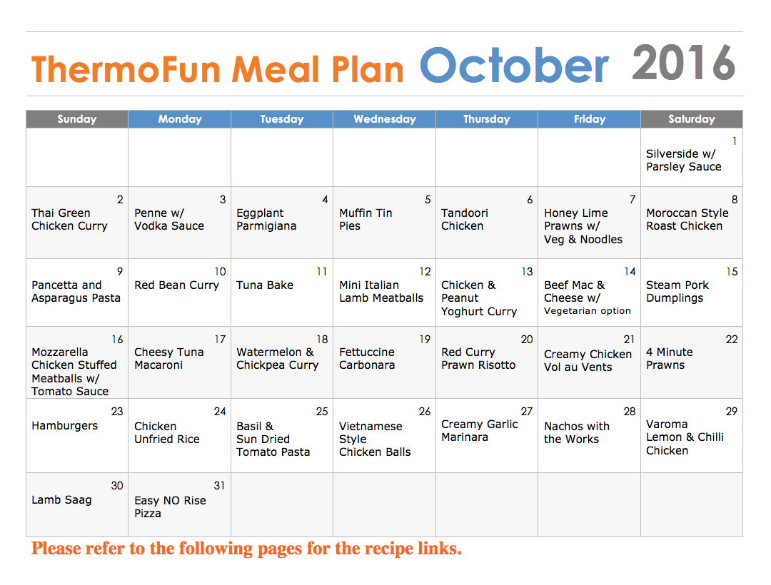 Thermomix Meal Plan - ThermoFun October