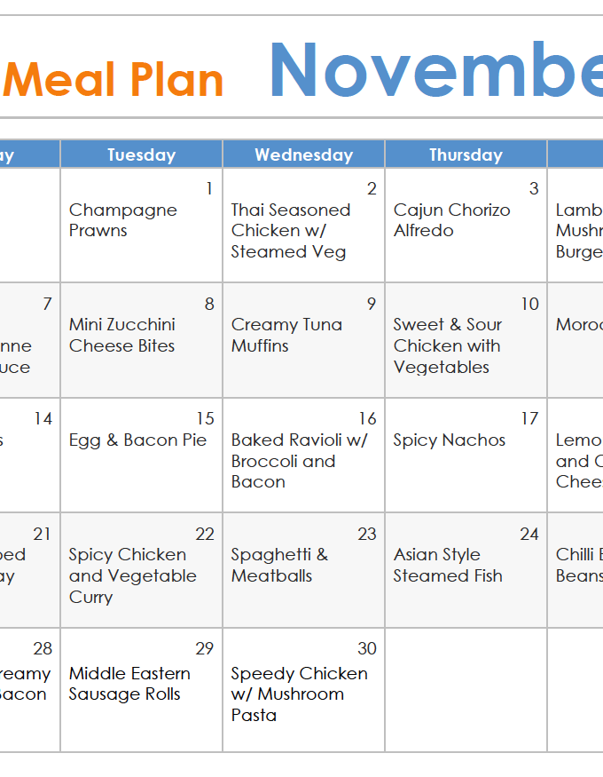 ThermoFun November FREE Thermomix Meal Plan