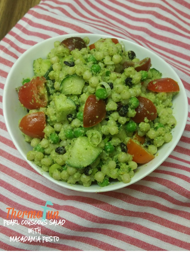 Pearl Couscous Salad with Macadamia Pesto – Week 51, 2016