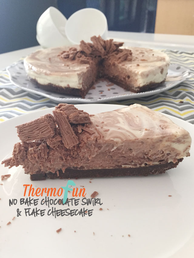 No Bake Chocolate Swirl with Flake Cheesecake