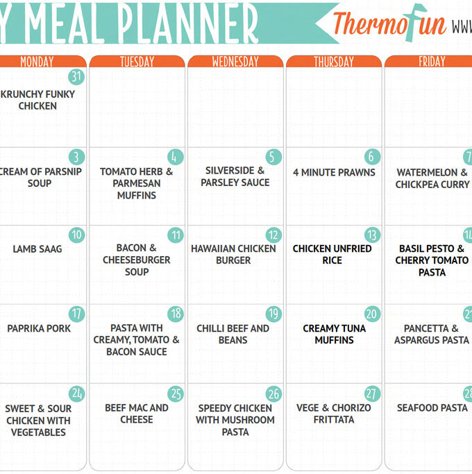ThermoFun FREE July 2017 Meal Plan