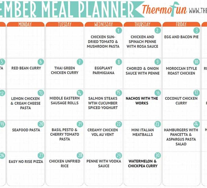 THERMOFUN FREE NOVEMBER 2017 MEAL PLAN