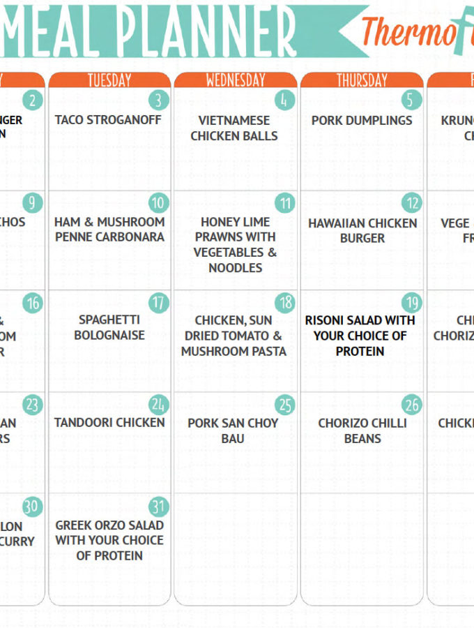 THERMOFUN FREE OCTOBER 2017 MEAL PLAN