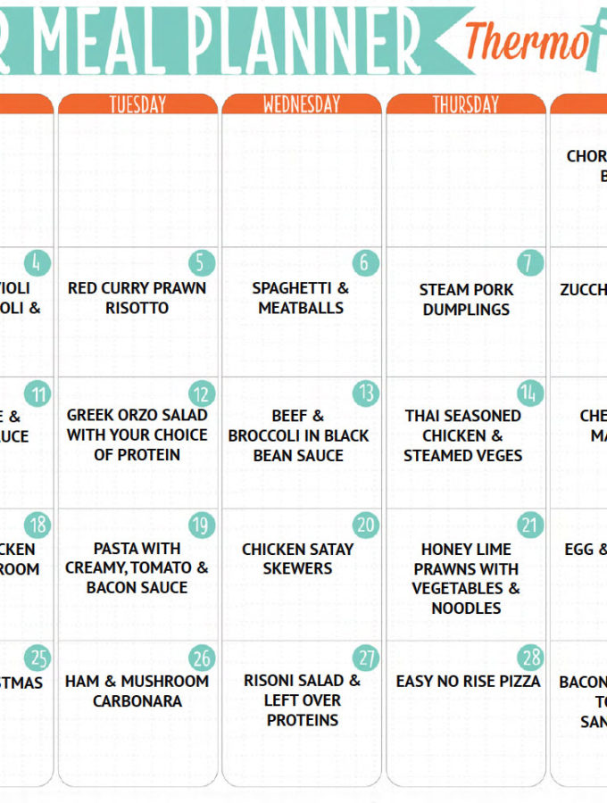 THERMOFUN FREE DECEMBER 2017 MEAL PLAN